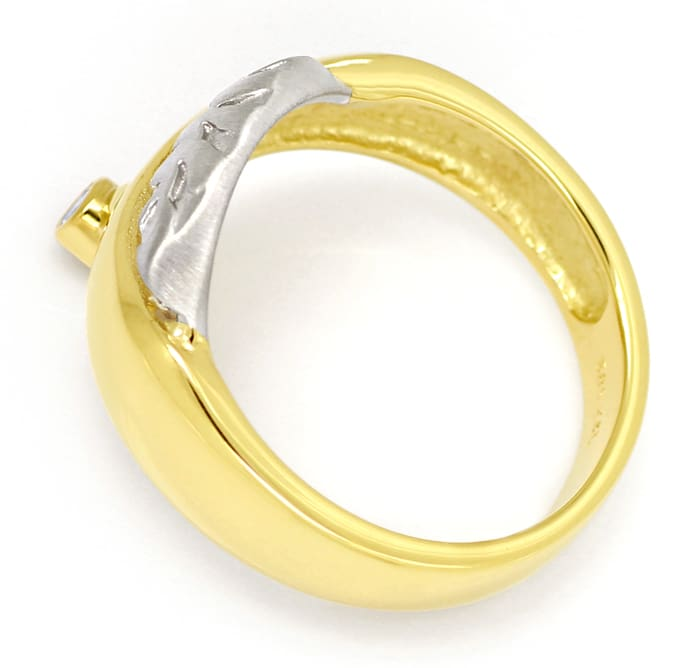 Foto 3, Design Bandring mit 0,06ct Brillant in 14K Bicolor Gold, S1460