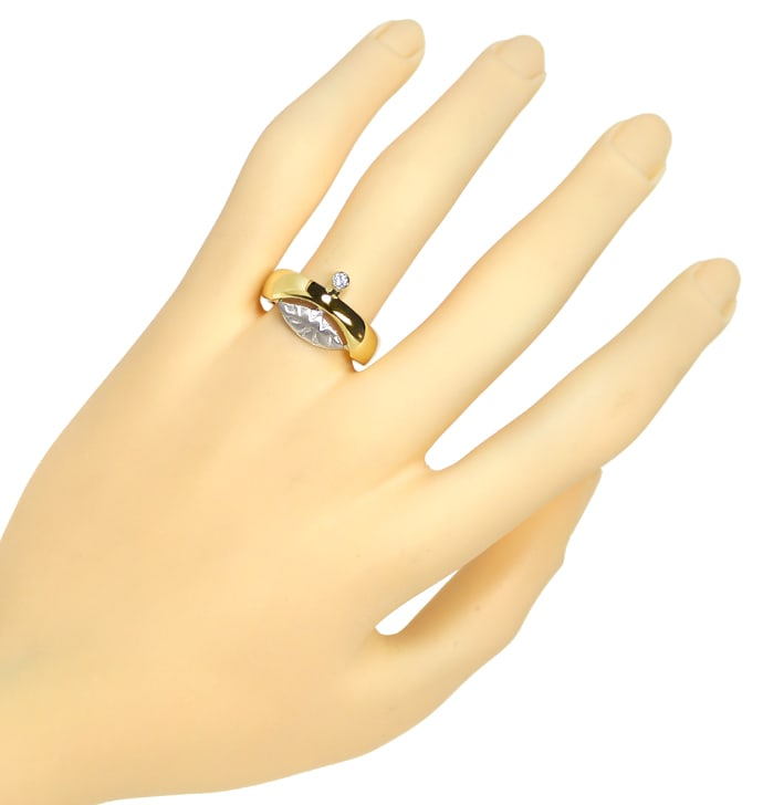 Foto 4, Design Bandring mit 0,06ct Brillant in 14K Bicolor Gold, S1460