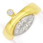 Design Bandring mit 0,06ct Brillant in 14K Bicolor Gold