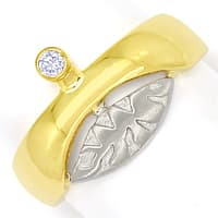 zum Artikel Design Bandring mit 0,06ct Brillant in 14K Bicolor Gold, S1460