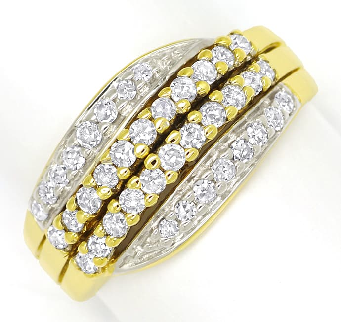 Foto 2, Dekorativer Damenring mit 0,5ct Diamanten in 585er Gold, S1463