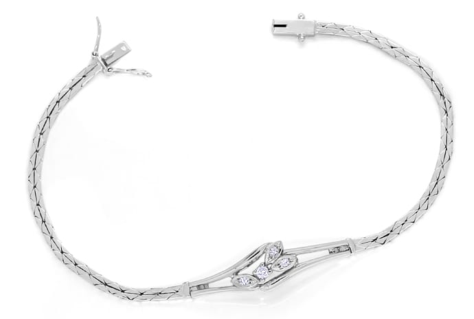 Foto 1, Armband Brillant und Diamanten 0,105ct in 14K Weissgold, S1480