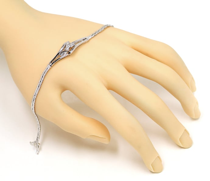 Foto 4, Armband Brillant und Diamanten 0,105ct in 14K Weissgold, S1480