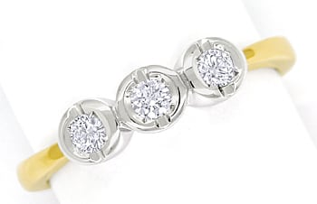 Foto 1 - Diamantring Trilogie mit Brillanten in 14K Bicolor Gold, S1499