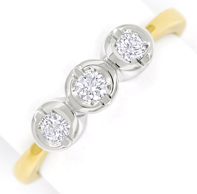 Foto 2 - Diamantring Trilogie mit Brillanten in 14K Bicolor Gold, S1499