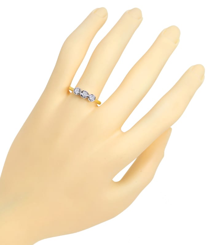 Foto 4 - Diamantring Trilogie mit Brillanten in 14K Bicolor Gold, S1499