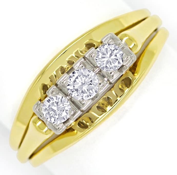 Foto 2 - Diamantenring mit 0,27ct Brillanten Handarbeit 14K Gold, S1509