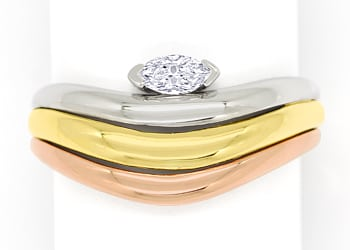 Foto 1, Diamantring mit 0,15ct Diamant Navette in Tricolor Gold, S1513