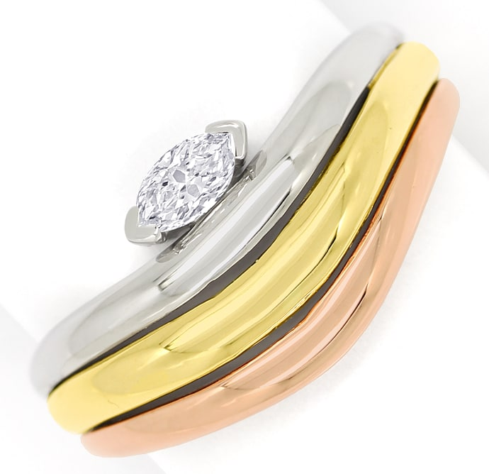 Foto 2, Diamantring mit 0,15ct Diamant Navette in Tricolor Gold, S1513