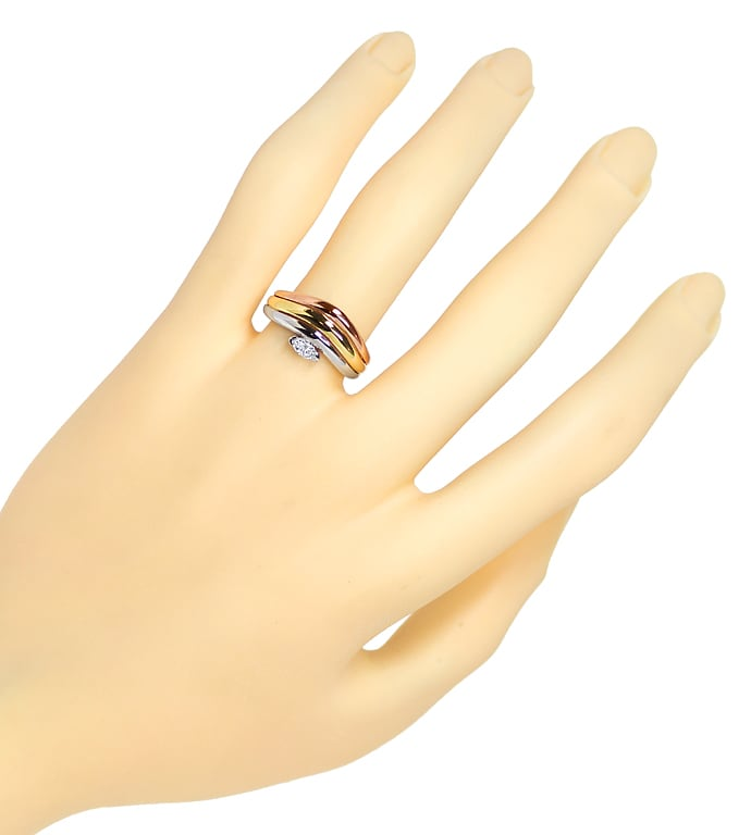 Foto 4, Diamantring mit 0,15ct Diamant Navette in Tricolor Gold, S1513