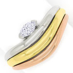 Diamantring mit 0,15ct Diamant Navette in Tricolor Gold