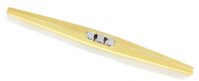 Foto 1 - Diamantbrosche Stabbrosche mit 3 Brillanten in 14K Gold, S1525