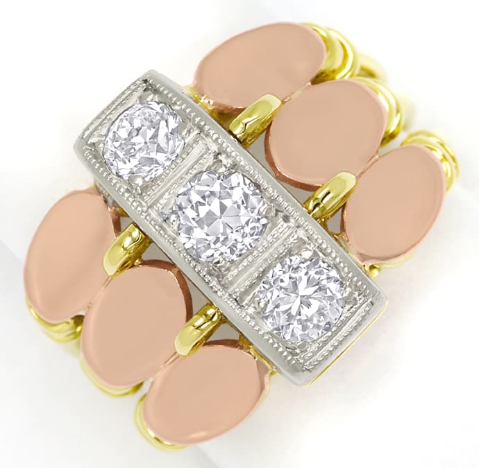 Foto 2, ArtDeco Diamantenring 0,86ct Diamanten in Tricolor Gold, S1526