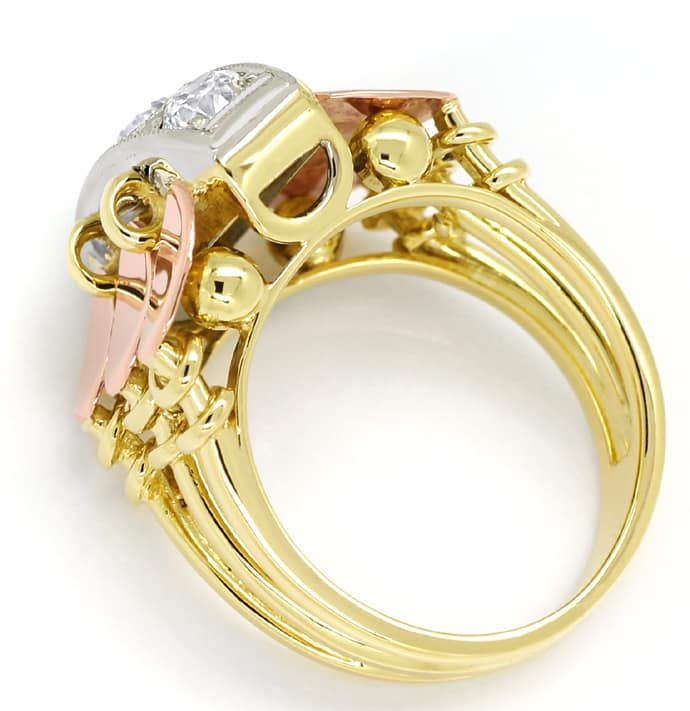 Foto 3, ArtDeco Diamantenring 0,86ct Diamanten in Tricolor Gold, S1526