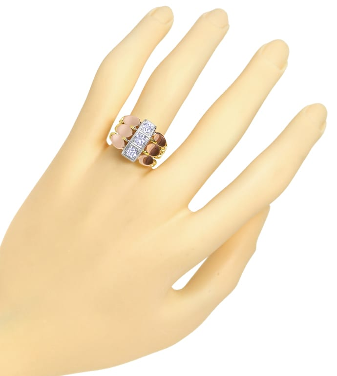 Foto 4 - ArtDeco Diamantenring 0,86ct Diamanten in Tricolor Gold, S1526