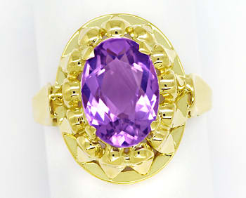 Foto 1, Amethyst 4,3ct in attraktivem Damenring in 14K Gelbgold, S1539