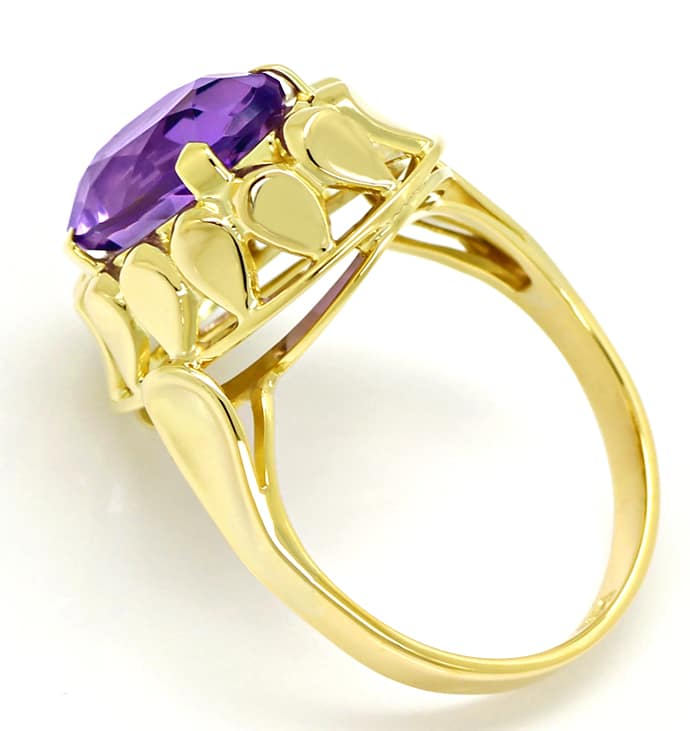 Foto 3, Amethyst 4,3ct in attraktivem Damenring in 14K Gelbgold, S1539