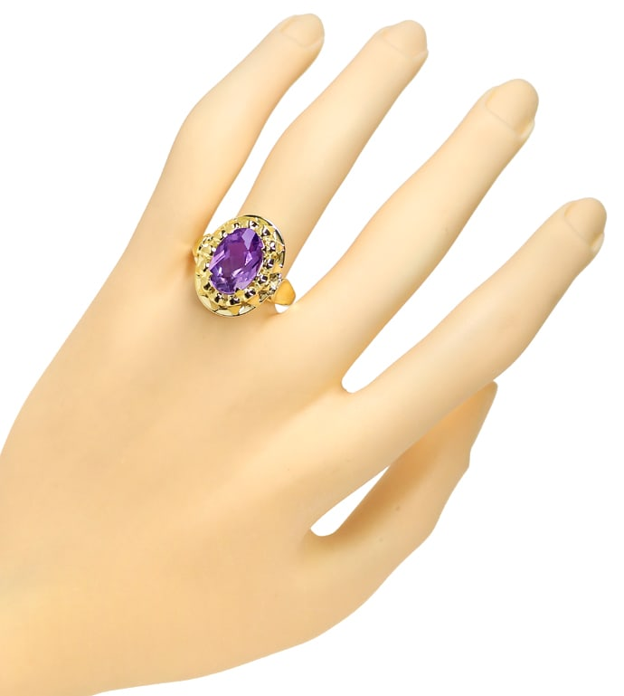 Foto 4, Amethyst 4,3ct in attraktivem Damenring in 14K Gelbgold, S1539
