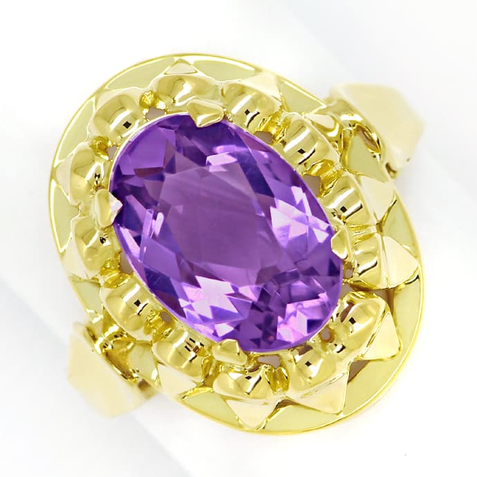 Amethyst 4,3ct in attraktivem Damenring in 14K Gelbgold, Edelstein Farbstein Ring