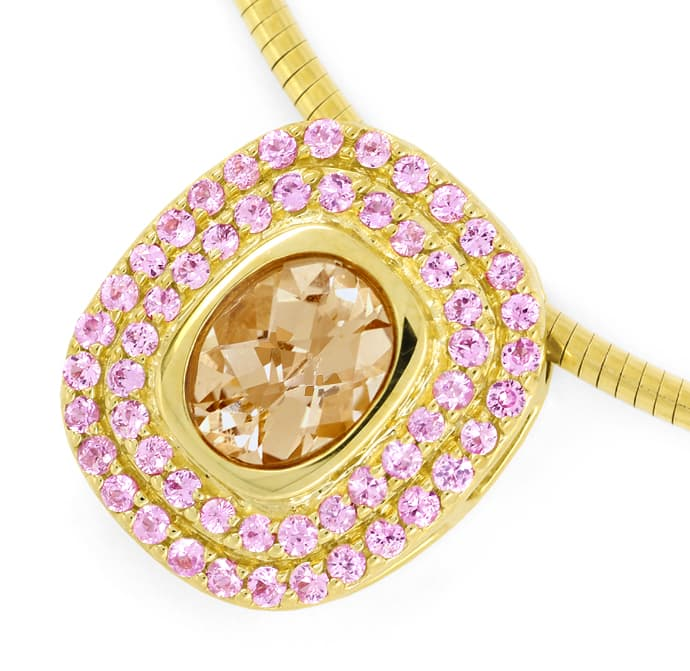 Foto 2 - Kollier 2,3ct Pfirsich Rosa Morganit, Smaragd, Gelbgold, S1540