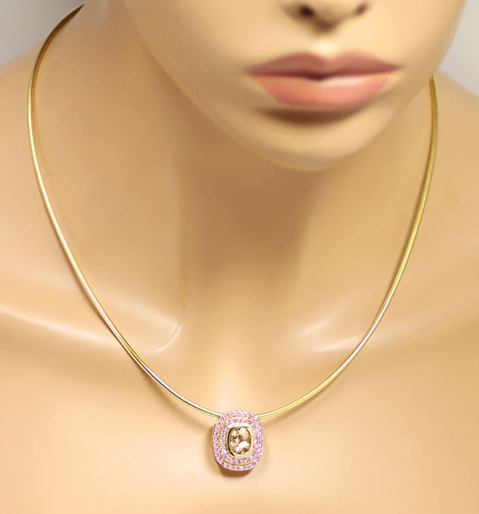 Foto 4 - Kollier 2,3ct Pfirsich Rosa Morganit, Smaragd, Gelbgold, S1540
