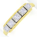 Diamantring Halbmemoryring mit 5 Diamanten Bicolor Gold
