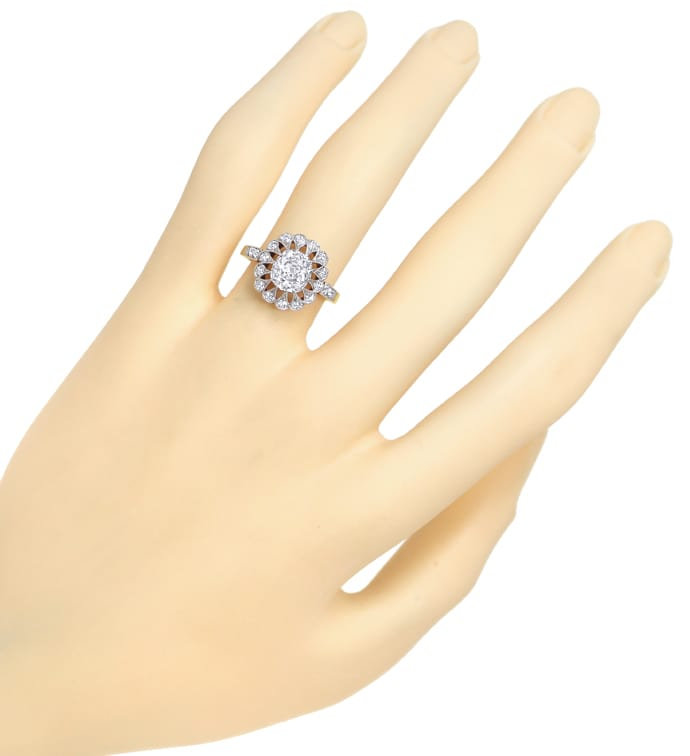 Foto 4 - Antiker Entourage Diamantring 1,45ct Solitär und 0,33ct, S1566