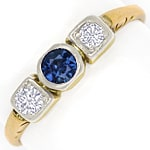 Trilogie Goldring 0,16ct Diamanten und 0,30ct Safir 14K