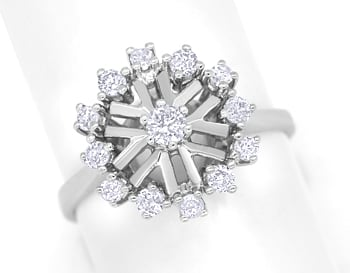 Foto 1, Edler Diamantring mit 0,51ct Diamanten in 14K Weissgold, S1585