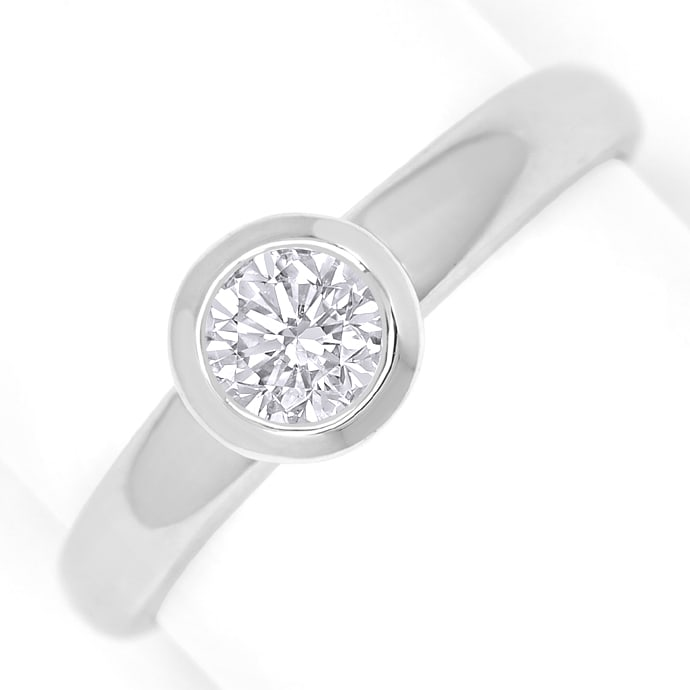 Diamantring 0,54ct Brillant Solitär IGI Zarge Weissgold, Designer Ring