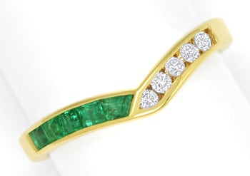 Foto 1, Diamantring Spitzen Smaragde und Brillanten in 14K Gold, S1624