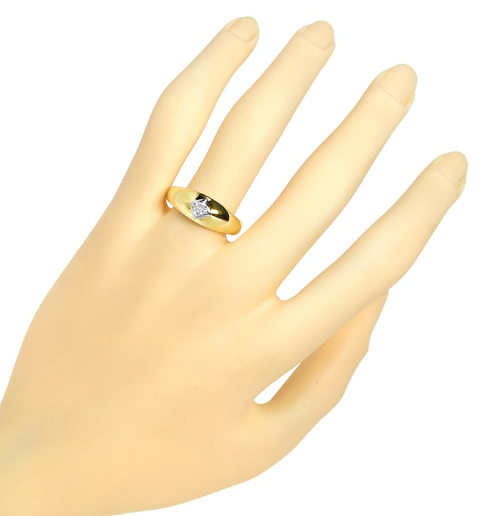 Foto 4, Diamantbandring 0,14ct lupenreiner Brillant massiv Gold, S1628