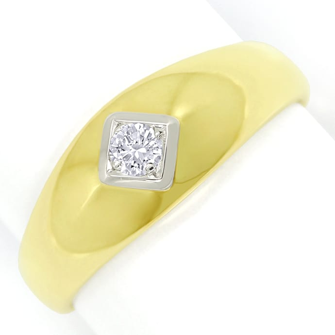 Diamantbandring 0,14ct lupenreiner Brillant massiv Gold, Designer Ring