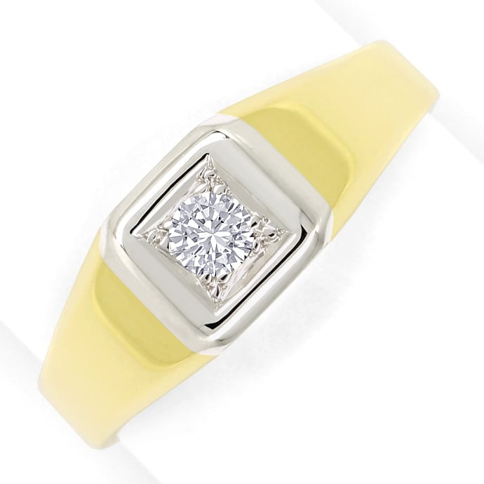 Solitär Brillant 0,21ct in Herrenring Gelbgold Weißgold, Designer Ring