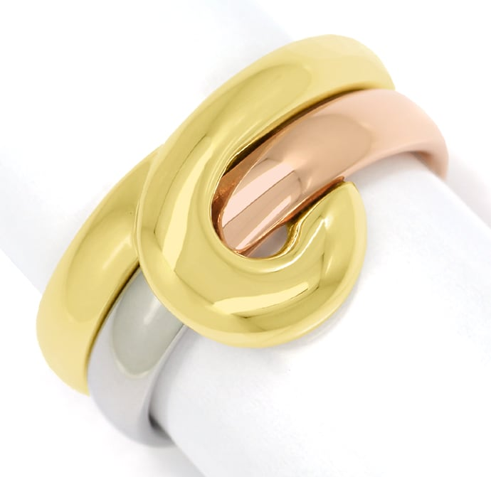 Foto 2, Cantelli Design Ring Knoten zweiteilig in Tricolor Gold, S1677