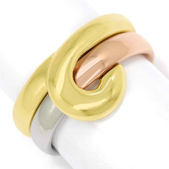 Cantelli Design Ring Knoten zweiteilig in Tricolor Gold, Solitär Diamantring Brillantring
