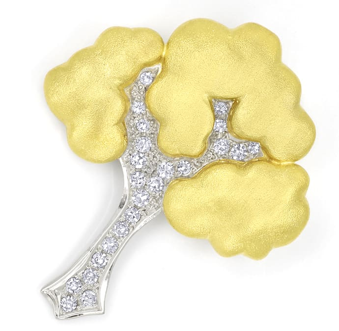 Foto 1, Diamantenbrosche Baum mit 0,36ct Diamanten Bicolor Gold, S1678