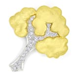 Diamantenbrosche Baum mit 0,36ct Diamanten Bicolor Gold