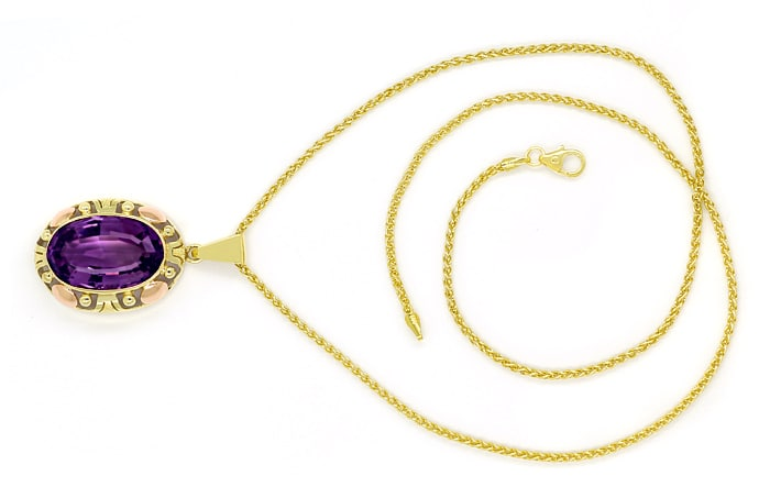 Foto 1, Collier mit riesigem 14,4ct Amethyst in Gelbgold Rotgold, S1679