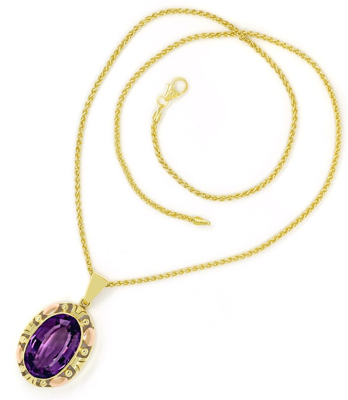 Foto 3, Collier mit riesigem 14,4ct Amethyst in Gelbgold Rotgold, S1679