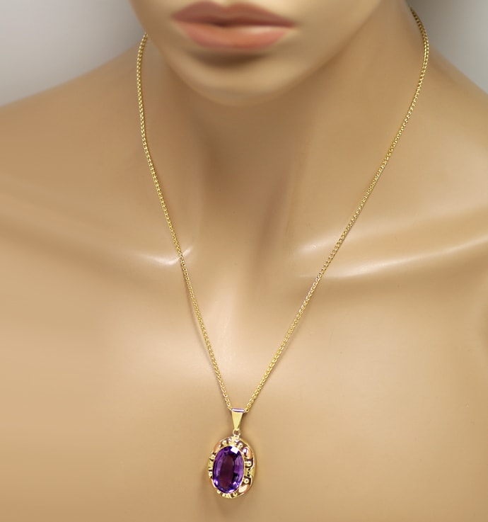 Foto 4, Collier mit riesigem 14,4ct Amethyst in Gelbgold Rotgold, S1679