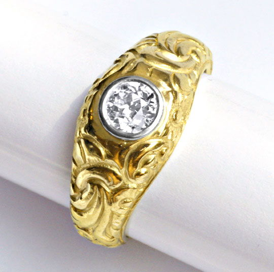 Foto 3 - Massiver Diamantring 0,56ct H VS Altschliff in 18K Gold, S1692