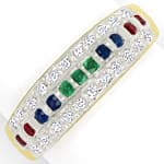 Diamanten Bandring in Multicolor Rubine Safire Smaragde