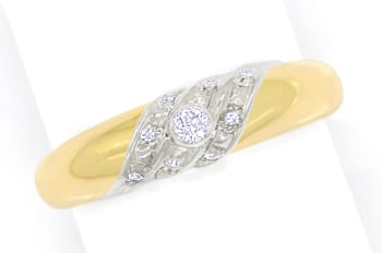 Foto 1, Designer Bandring 0,10ct Brillanten in 14K Gold Bicolor, S1727