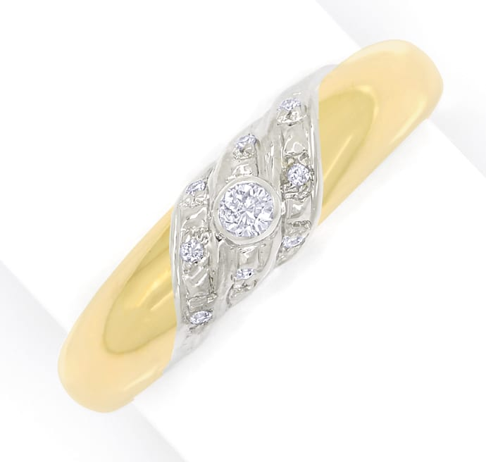 Foto 2, Designer Bandring 0,10ct Brillanten in 14K Gold Bicolor, S1727