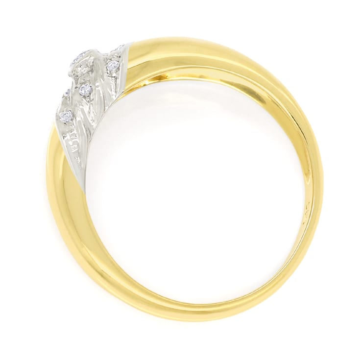 Foto 3, Designer Bandring 0,10ct Brillanten in 14K Gold Bicolor, S1727