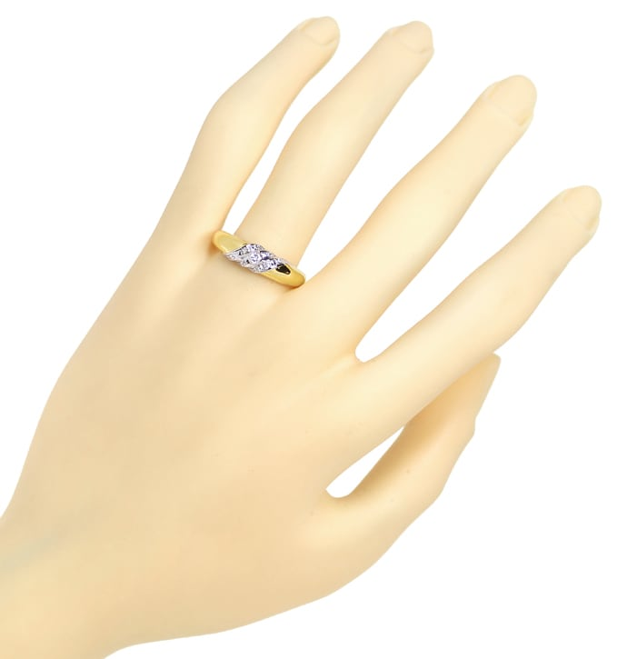 Foto 4, Designer Bandring 0,10ct Brillanten in 14K Gold Bicolor, S1727