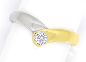 Foto 1, Diamantring V Form mit 0,20ct Brillant 14K Bicolor Gold, S1731