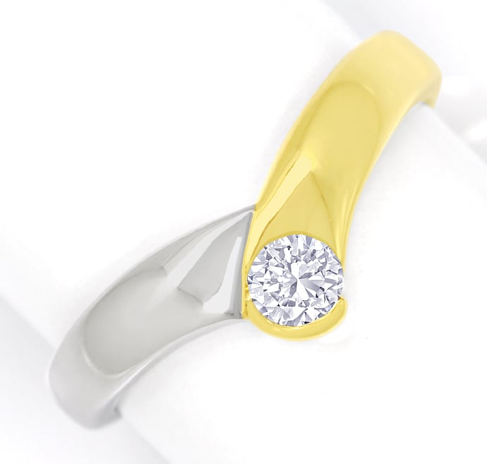 Foto 2, Diamantring V Form mit 0,20ct Brillant 14K Bicolor Gold, S1731