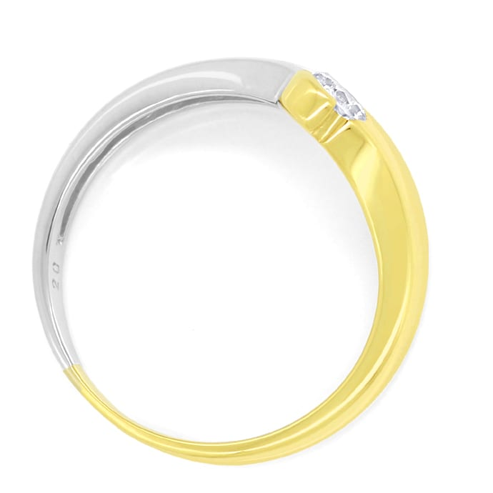 Foto 3, Diamantring V Form mit 0,20ct Brillant 14K Bicolor Gold, S1731
